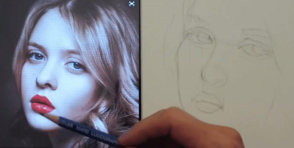 آموزش طراحی چهره دختر زیبا
