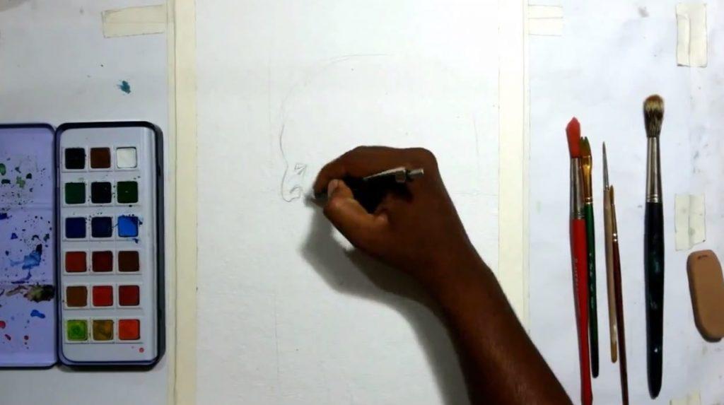 نقاشی چهره با آبرنگ
