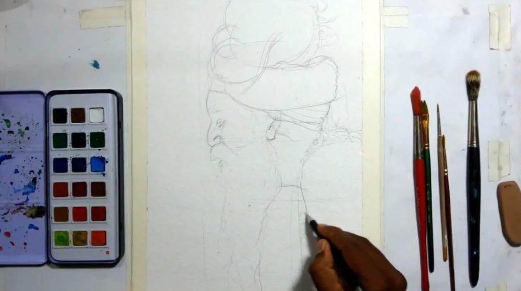 آموزش نقاشی پرتره با آبرنگ