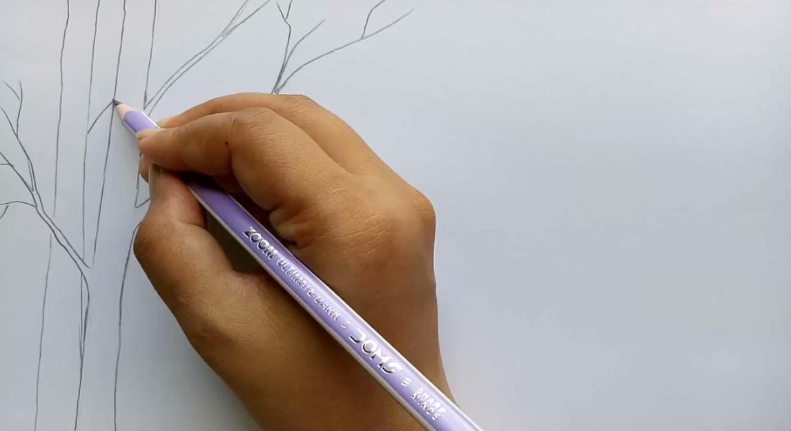 طراحی درخت ساده نقاشی منظره برفی با مداد رنگی - گرافیک آزاد ، آموزش نقاشی ...