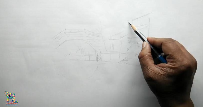 نقاشی چشم انداز ساده و زیبا با مداد رنگی