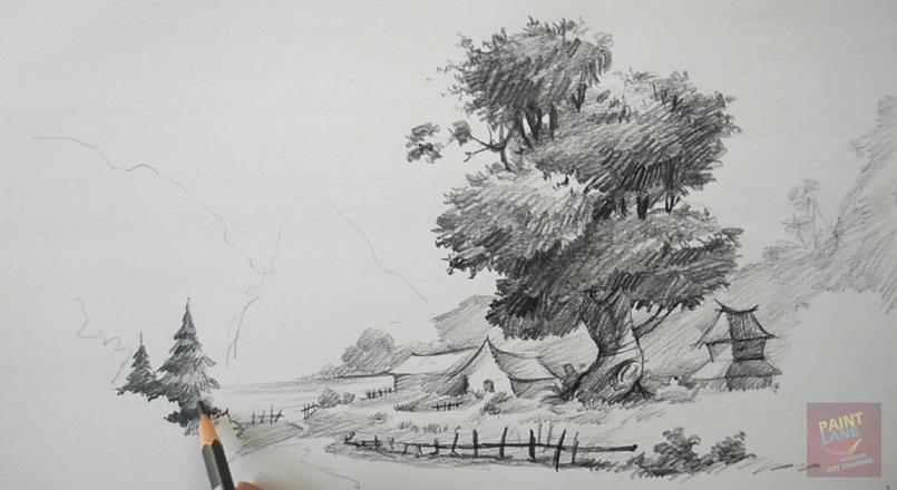 طراحی آسان از منظره با مداد