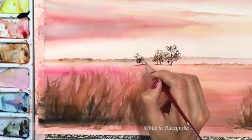 نقاشی چشم اندازی از پرواز مرغابی با آبرنگ