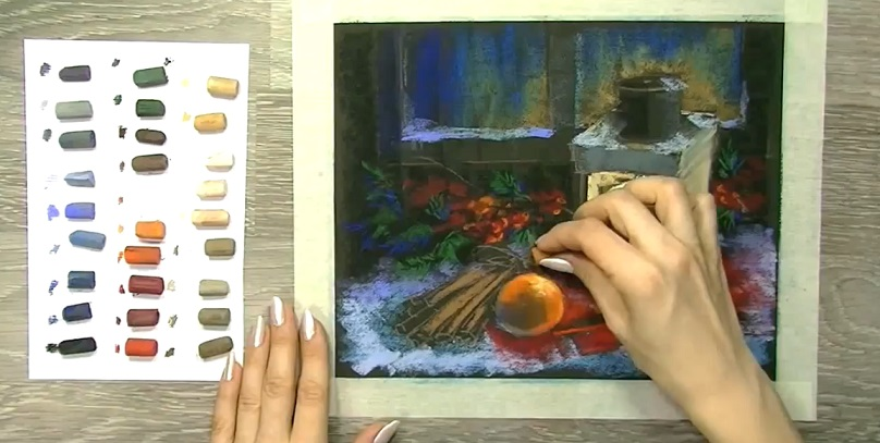 نقاشی منظره ای با حال و هوای کریسمس بوسیله پاستل