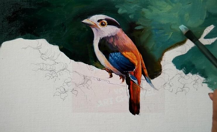 رنگ آمیزی پرنده با رنگ روغن