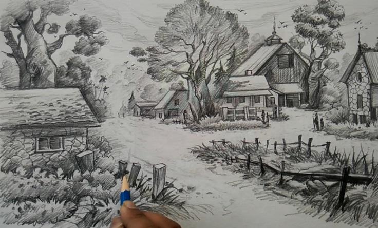 آموزش طراحی منظره از روستا با مداد