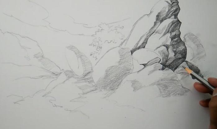 سایه زدن با مداد در طراحی سنگ و سخره