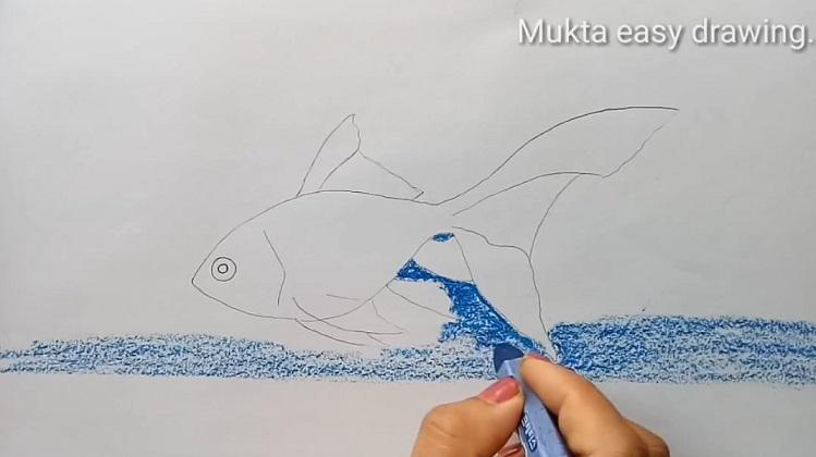 آموزش نقاشی ماهی قرمز با پاستل