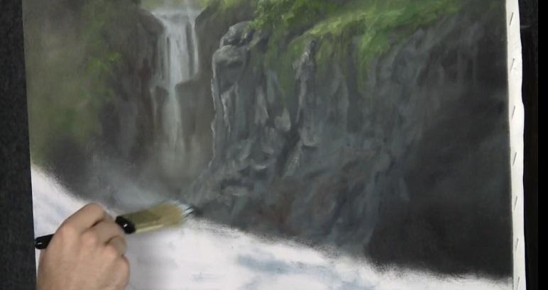 آموزش نقاشی منظره زیبا با رنگ روغن