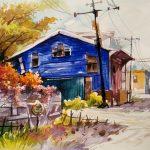 آموزش نقاشی طبیعت چشم انداز با آبرنگ