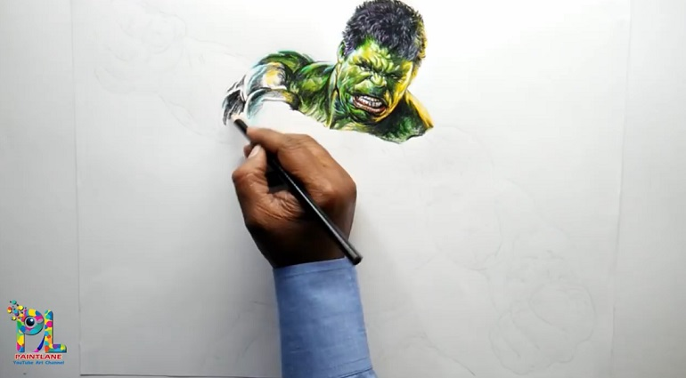 آموزش نقاشی هالک با مدادرنگی