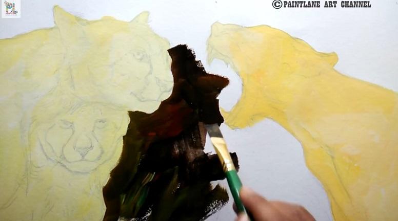 آموزش نقاشی حیوانات وحشی با اکریلیک