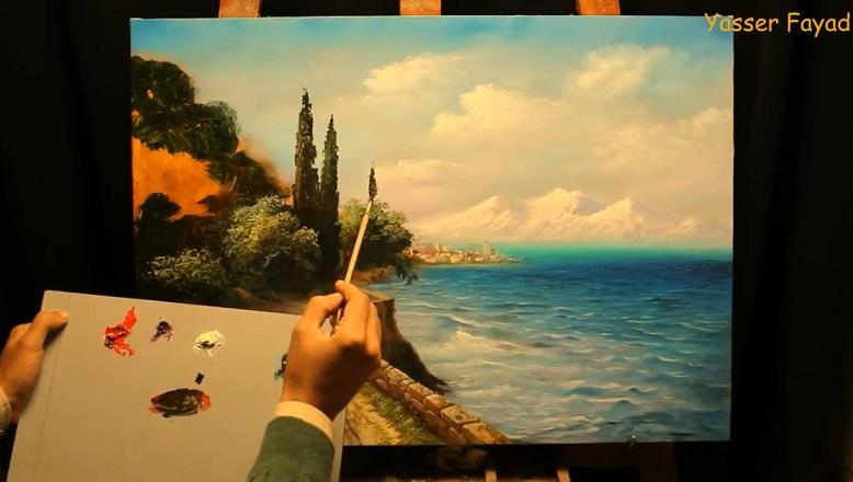 آموزش نقاشی رنگ روغن مدیترانه