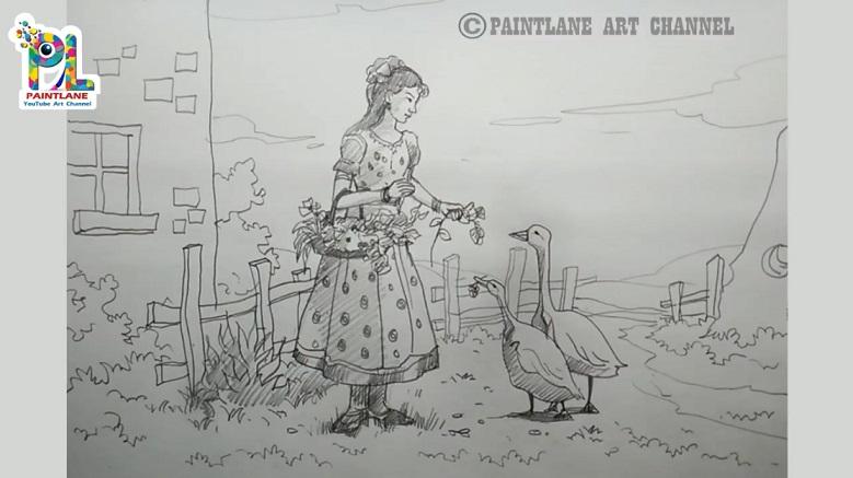 طراحی آسان و ساده یک دختر بهمراه اردک