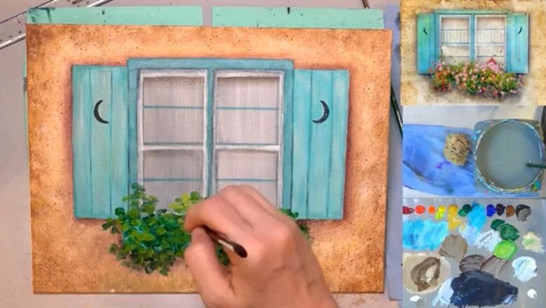 نقاشی پنجره همراه با گل با اکریلیک